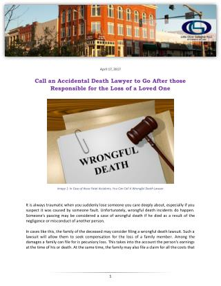 Call an Accidental Death Lawyer to Go After those Responsible for the Loss of a Loved One