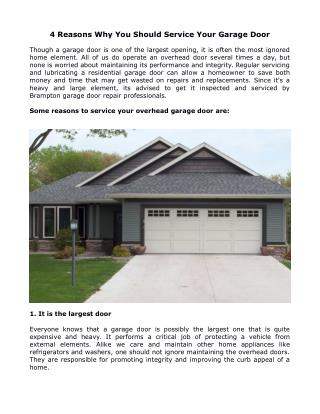 4 Reasons Why You Should Service Your Garage Doors