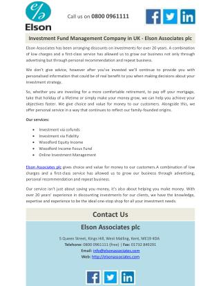 Investment Fund Management Company in UK - Elson Associates plc