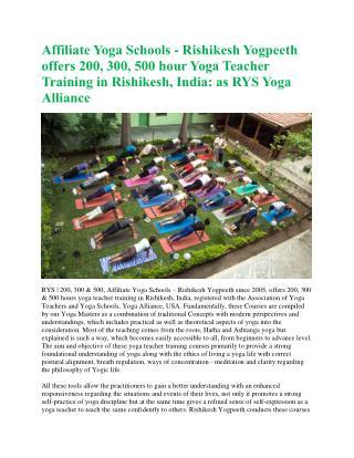 Yoga Teacher Training India, Rishikesh Yogpeeth RYS 200, 500