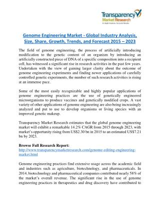 Genome Engineering Market Research Report by Geographical Analysis and Forecast to 2023