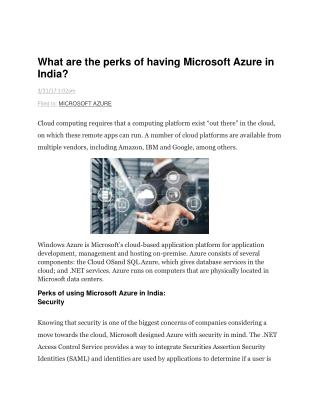 What are the perks of having Microsoft Azure in India?