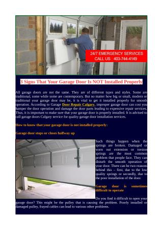 3 Signs That Your Garage Door Is NOT Installed Properly