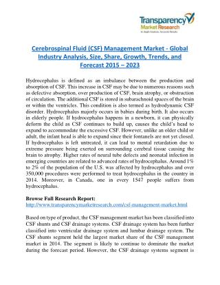 Cerebrospinal Fluid (CSF) Management Market Research Report Forecast to 2023