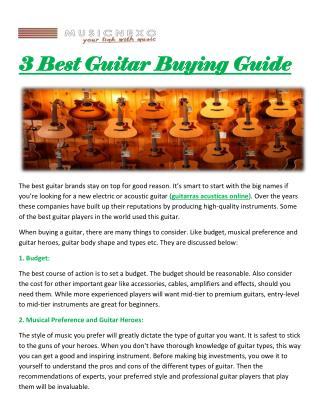 3 Best Guitar Buying Guide