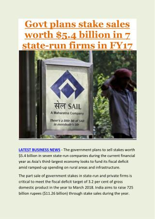 Govt plans stake sales worth $5.4 billion in 7 state-run firms in FY17