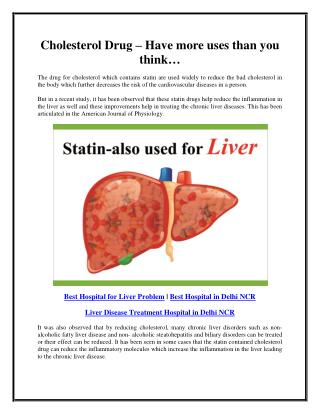 Cholesterol drug – have more uses than you think