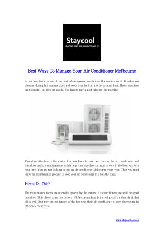 Best Ways to Manage Your Air Conditioner Melbourne