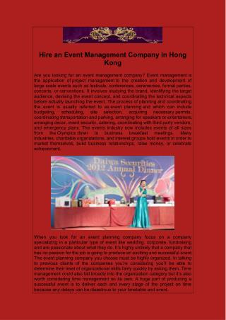 Hire an Event Management Company in Hong Kong