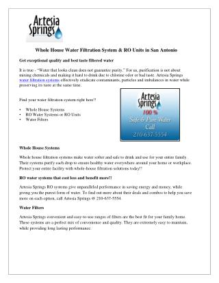 Whole House Water Filtration System & RO Units in San Antonio