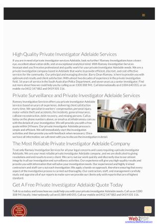 High Quality Private Investigator Adelaide Services
