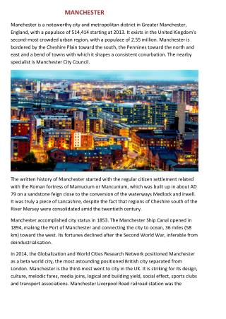 Manchester's History,Climate, governance, Economy,Education,Transport and Culture
