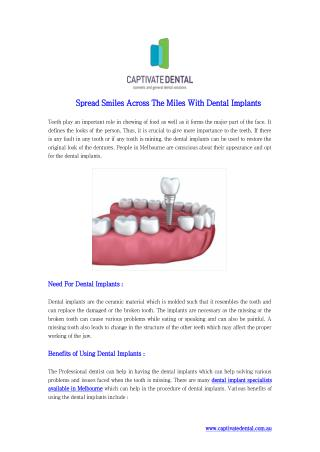 Spread Smiles Across The Miles With Dental Implants