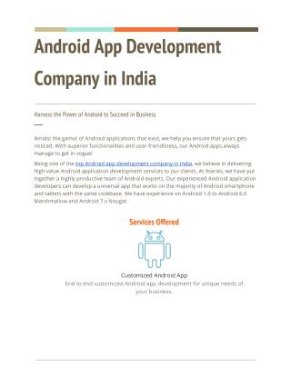 Top android application development companies in India