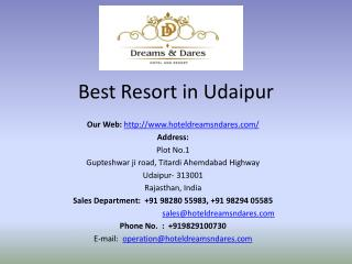 Best Resort in Udaipur - Hotel Dreams & Dares