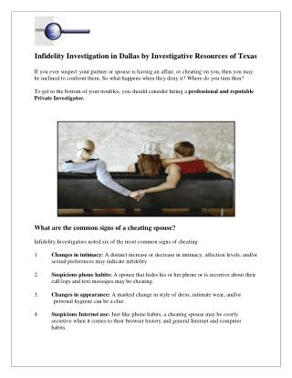 Infidelity Investigation in Dallas by Investigative Resources of Texas