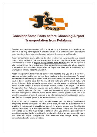 Consider Some Facts before Choosing Airport Transportation From Petaluma