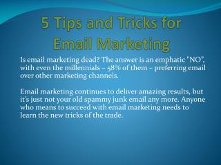 5 Tips and Tricks for Email Marketing