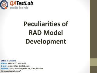 Peculiarities of RAD Model Development