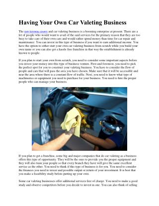 Having Your Own Car Valeting Business
