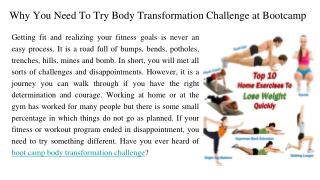 Why You Need To Try Body Transformation Challenge at a Bootcamp