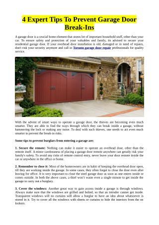 4 Expert Tips To Prevent Garage Door Break-Ins