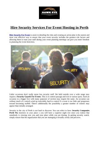 Hire Security Services For Event Hosting in Perth