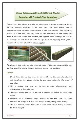 Some Characteristics of Different Timber Supplies At Treated Pine Suppliers