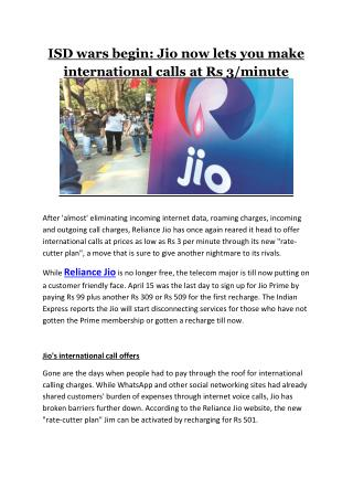 Isd wars begin jio now lets you make international calls at rs 3 minute