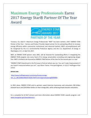 Maximum Energy Professionals Earns 2017 Energy Star Partner of the Award
