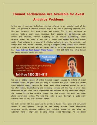 Trained Technicians Are Available for Avast Antivirus Problems