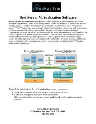 Best Server Virtualization Software