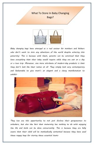 What to Store in Baby Changing Bags?
