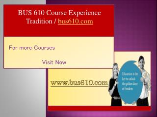BUS 610 Course Experience Tradition / bus610.com