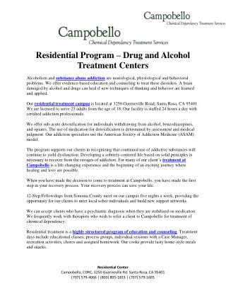 Residential Program - Drug and Alcohol Recovery