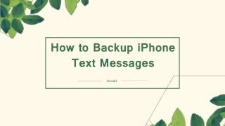 How to Backup/Transfer iPhone Text Messages to Computer
