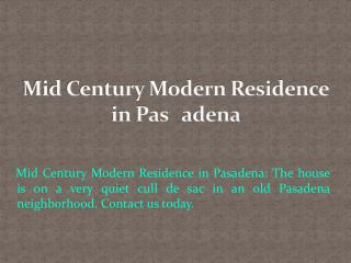 Mid Century Modern Residence in Pasadena