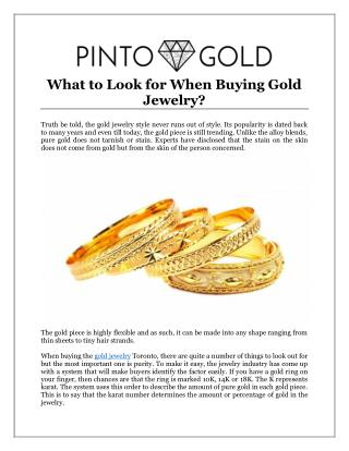What to Look for When Buying Gold Jewelry?