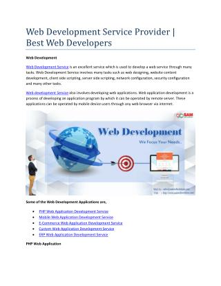Web Development Service Provider | Best Web Developers
