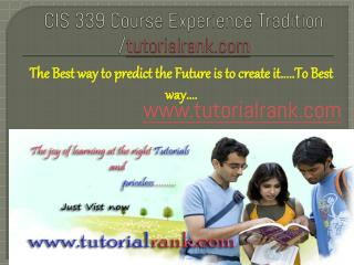 CIS 339 Course Experience Tradition /tutorialrank.com