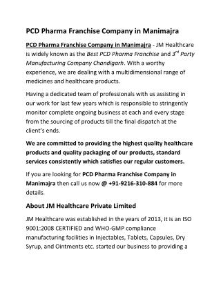 PCD Pharma Franchise Company in Manimajra