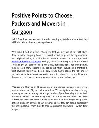 Positive Points to Choose Packers and Movers in Gurgaon