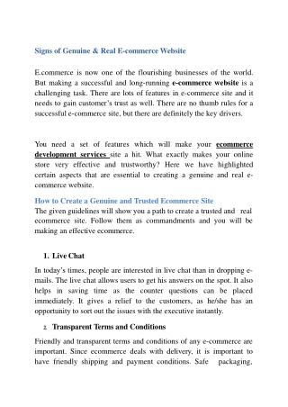 Signs of Genuine & Real E-commerce Website