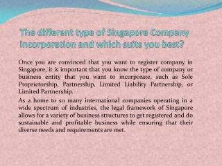 Different types of companies and which singapore company incorporation is best