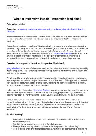 What Is Integrative Health – Integrative Medicine?