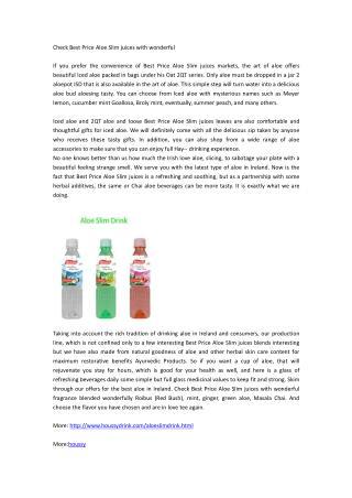 Check Best Price Aloe Slim juices with wonderful