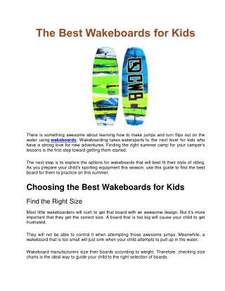 The Best Wakeboards for Kids