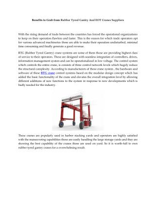 Benefits to Grab from Rubber Tyred Gantry And EOT Cranes Suppliers