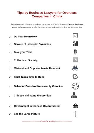 Tips by Business Lawyers for Overseas Companies in China