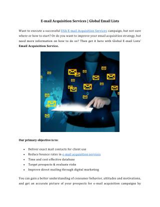 E-mail Acquisition Services - Global Email Lists